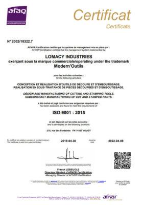 certification iso 9001 2015 fabricant outil de découpe et emboutissage